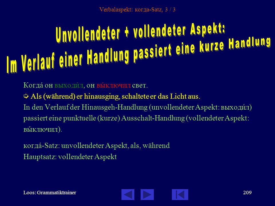 Loos: Grammatiktrainer208 Verbalaspekt: когда-Satz, 2 / 3 Когдà он написàл письмî, он пошёл на пîчту.