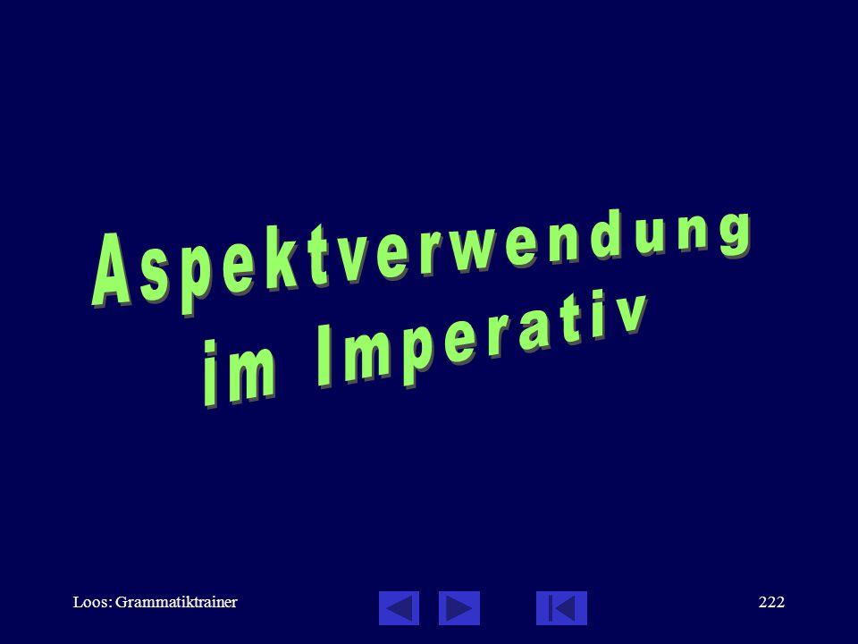 Loos: Grammatiktrainer221 Verbalaspekt: Infinitiv, Testen Sie sich! Она просèла менÿ купèть для неё нîвый рóсско- немåцкий словàрь, когдà я бóду в Мос
