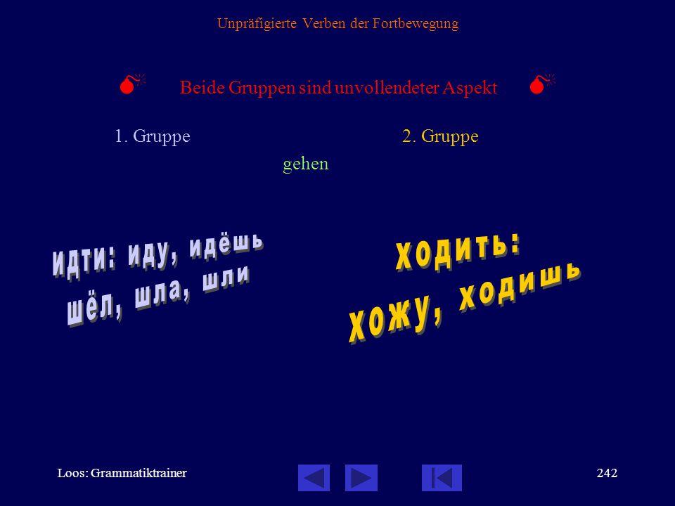Loos: Grammatiktrainer241 Unpräfigierte Verben der Fortbewegung