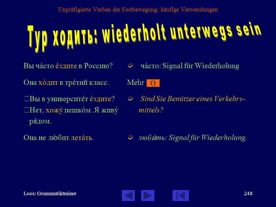 Loos: Grammatiktrainer247 Unpräfigierte Verben der Fortbewegung: häufige Verwendungen - Wohin gehst du.