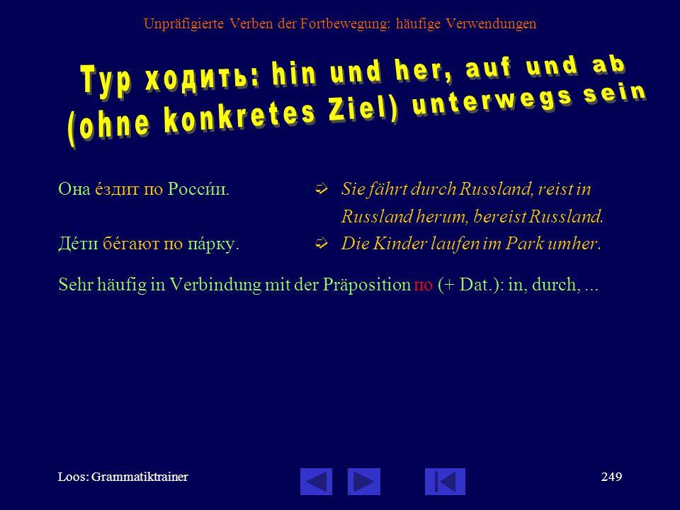 Loos: Grammatiktrainer248 Unpräfigierte Verben der Fortbewegung: häufige Verwendungen Вы чàсто åздите в Россию.
