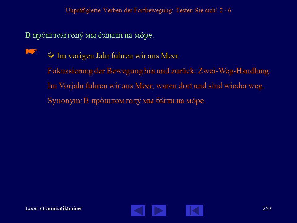 Loos: Grammatiktrainer252 Unpräfigierte Verben der Fortbewegung: Testen Sie sich! 1 / 6 В шкîлу Андрей åздит на автîбусе.   In die Schule fährt Andr