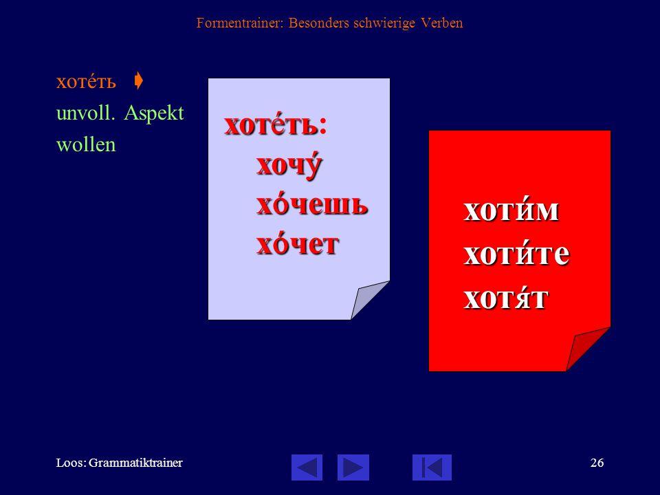 Loos: Grammatiktrainer25 Formentrainer: Besonders schwierige Verben пить  unvoll.