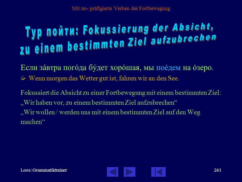 Loos: Grammatiktrainer260 Mit по- präfigierte Verben der Fortbewegung Die häufigsten mit по- präfigierten Verben: пойтè: Futurum  Präteritum  поåхат