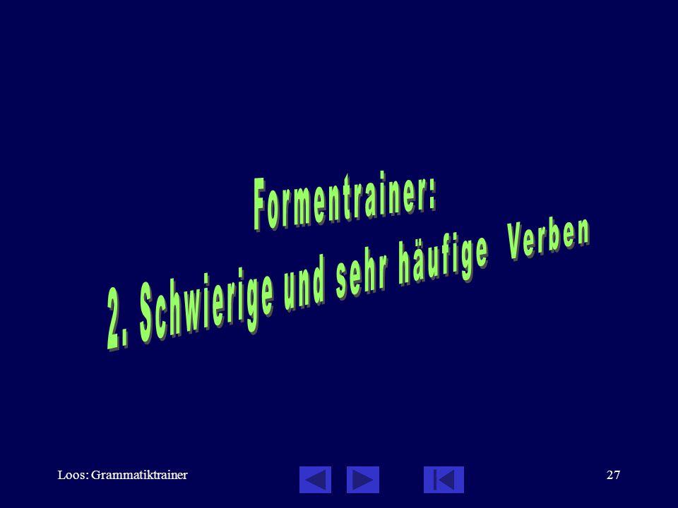Loos: Grammatiktrainer26 Formentrainer: Besonders schwierige Verben хотåть  unvoll.