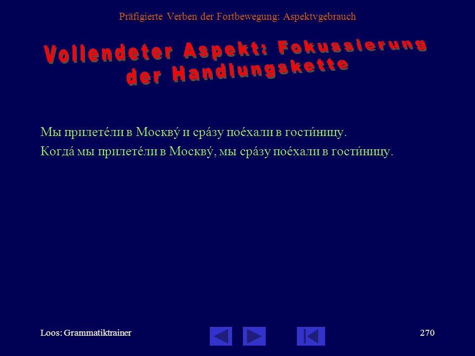 Loos: Grammatiktrainer269 Präfigierte Verben der Fortbewegung: Aspektvgebrauch Мы приåхали в Москвó вåчером.
