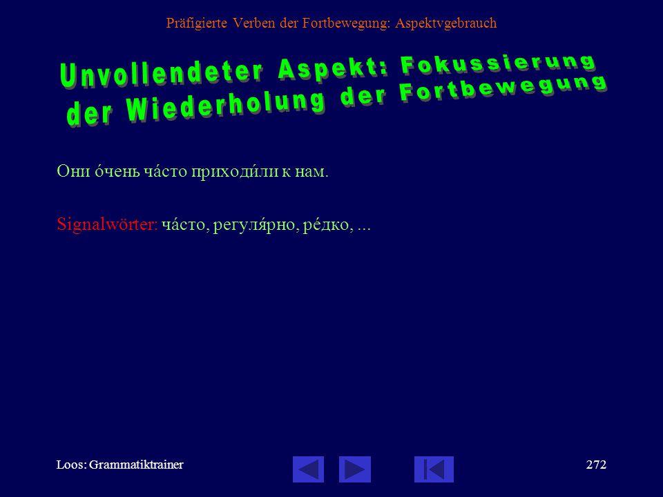 Loos: Grammatiktrainer271 Präfigierte Verben der Fortbewegung: Aspektvgebrauch Мы с ним познакîмились, когдà он переезжàл на нîвую квартèру.  Wir wur