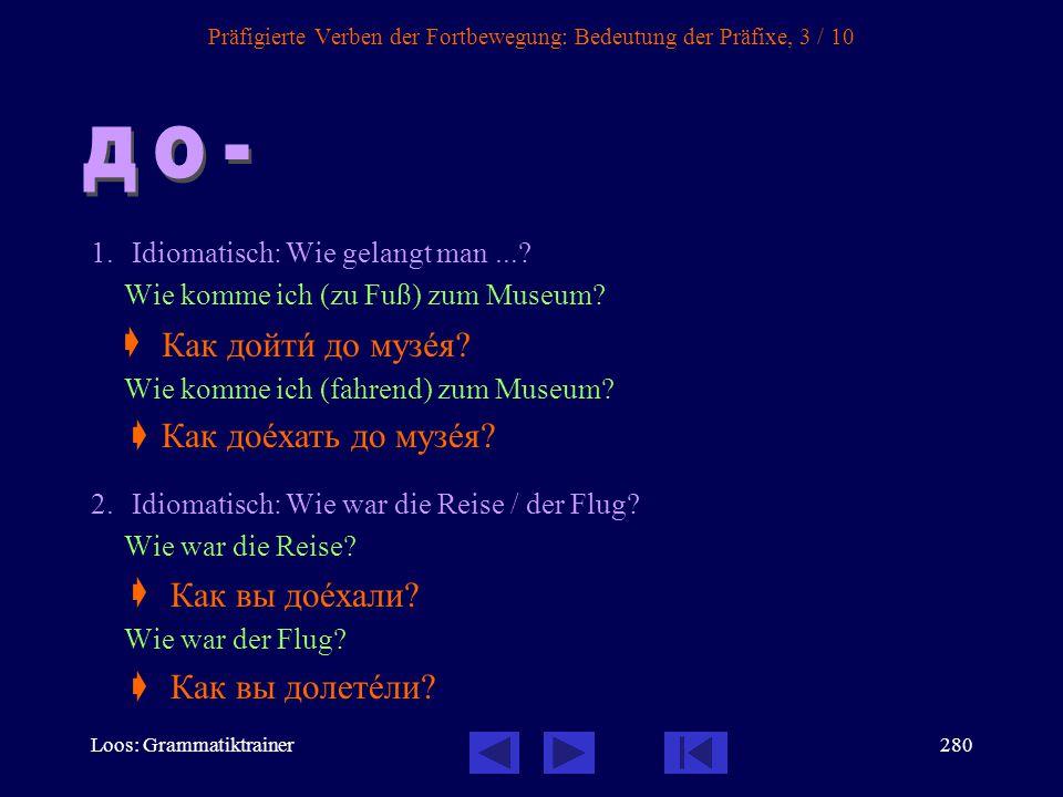 Loos: Grammatiktrainer279 Präfigierte Verben der Fortbewegung: Bedeutung der Präfixe, 2 / 10 1.Bewegung hinaus, heraus Sonja ging aus dem Zimmer.