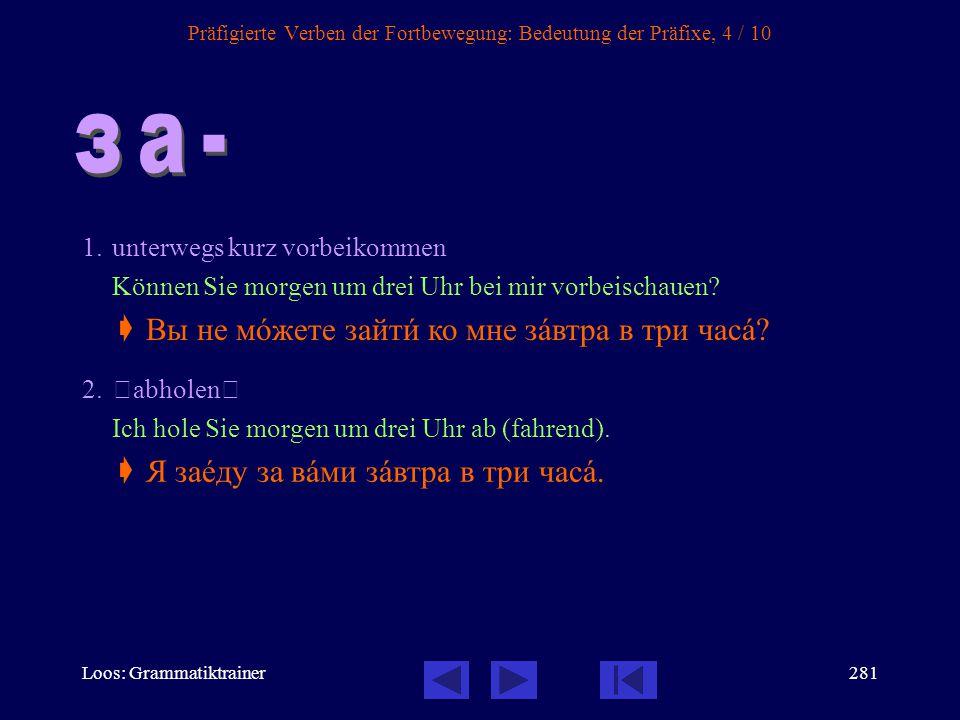 Loos: Grammatiktrainer280 Präfigierte Verben der Fortbewegung: Bedeutung der Präfixe, 3 / 10 1. Idiomatisch: Wie gelangt man...? Wie komme ich (zu Fuß