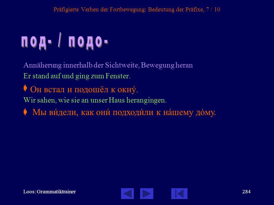 Loos: Grammatiktrainer283 Präfigierte Verben der Fortbewegung: Bedeutung der Präfixe, 6 / 10 Bewegung hinüber Er überquerte die Straße.  Sie übersied