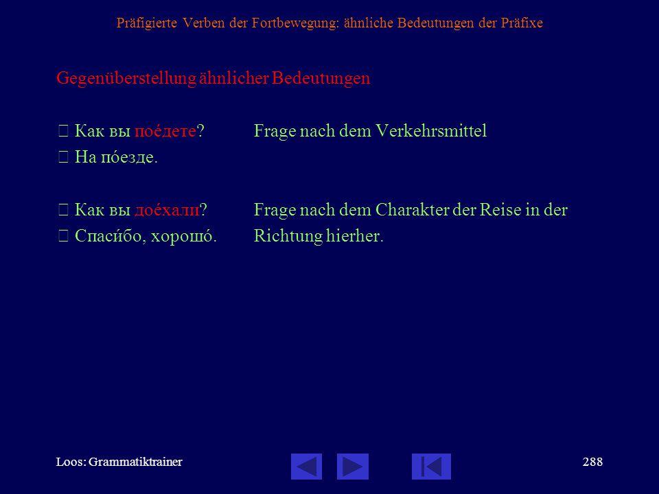 Loos: Grammatiktrainer287 Präfigierte Verben der Fortbewegung: Bedeutung der Präfixe, 10 / 10 Bewegung weg zu einem nicht unbedingt genannten Ziel auß