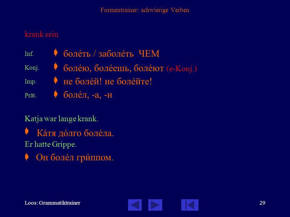 """Loos: Grammatiktrainer28 Formentrainer: schwierige Verben Im Formentrainer finden Sie folgende Abkürzungen: Inf.  Infinitiv / Nennform Unter """"Inf."""" f"""