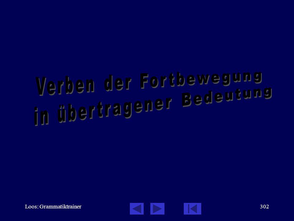 Loos: Grammatiktrainer301 Präfigierte Verben der Fortbewegung: Bedeutung der Präfixe, Testen Sie sich, 13 / 13 Он подошёл к магазèну, посмотрåл немнîго и вошёл.
