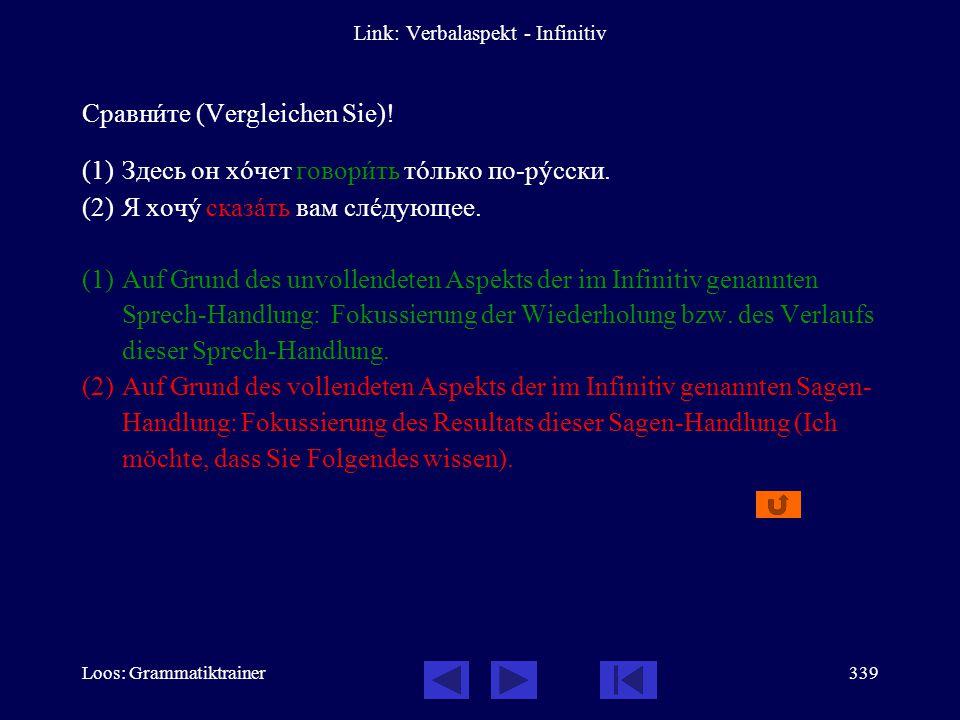Loos: Grammatiktrainer338 Link: Verbalaspekt - Infinitiv Сравнèте (Vergleichen Sie)! (1)Совåтую вам покупàть ýту газåту. (2)Совåтую вам купèть ýту газ