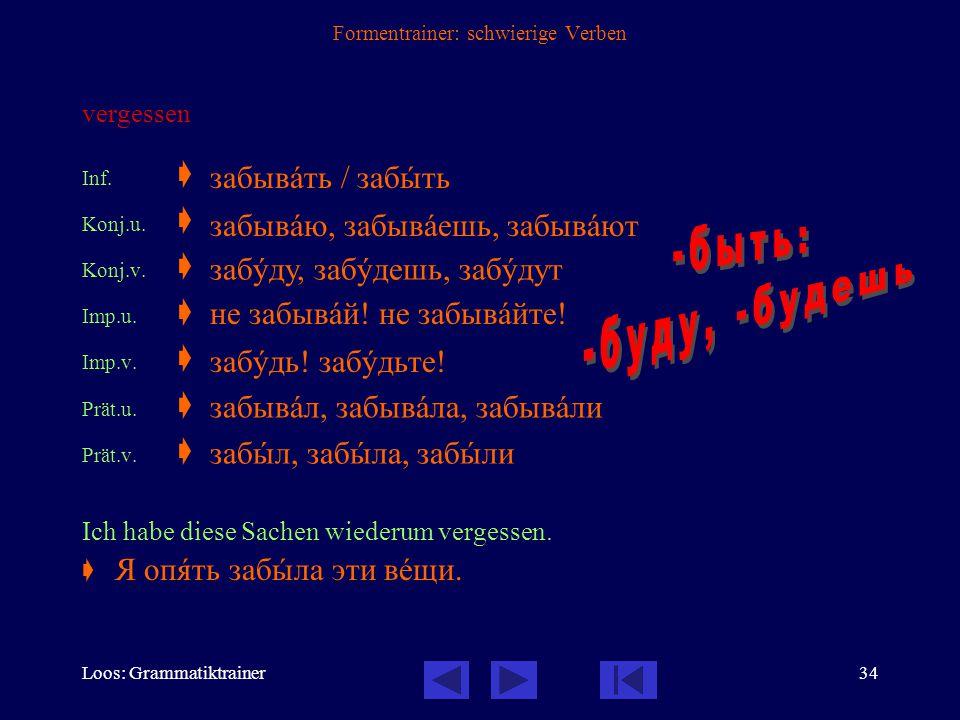 Loos: Grammatiktrainer33 Formentrainer: schwierige Verben werden, sein werden Inf.  Konj.u.  Imp.u.  Prät.u.  Seien Sie so gut und wiederholen Sie