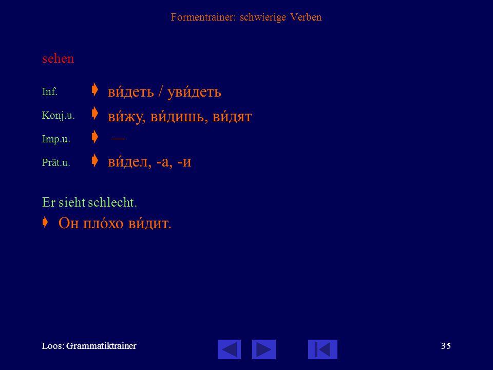 Loos: Grammatiktrainer34 Formentrainer: schwierige Verben vergessen Inf.  Konj.u.  Konj.v.  Imp.u.  Imp.v.  Prät.u.  Prät.v.  Ich habe diese Sa