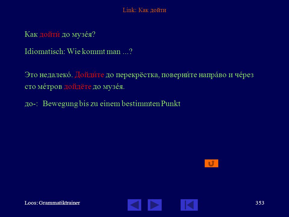 Loos: Grammatiktrainer352 Link: Он вûшел из кîмнаты и пошёл к вûходу. вы-: Bewegung hinaus, heraus по-:neue Etappe in der Bewegung Vollendete Aspekte: