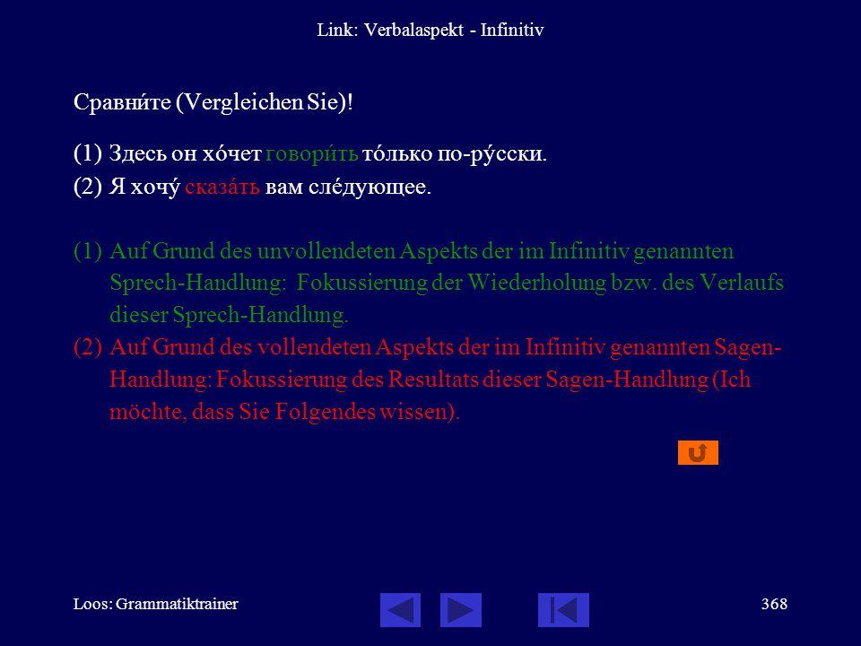 Loos: Grammatiktrainer367 Link: Verbalaspekt - Infinitiv Сравнèте (Vergleichen Sie)! (1)Совåтую вам покупàть ýту газåту. (2)Совåтую вам купèть ýту газ