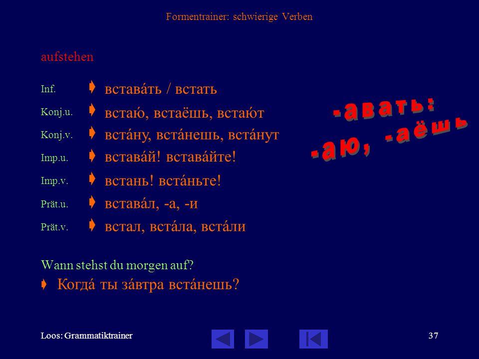 Loos: Grammatiktrainer36 Formentrainer: schwierige Verben zurückkehren Inf.  Konj.u.  Konj.v.  Imp.u.  Imp.v.  Prät.u.  Prät.v.  Kommen Sie bit