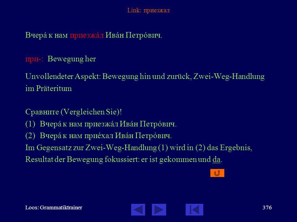 Loos: Grammatiktrainer375 Link: ездил по В прîшлом годó у нас былà великолåпная экскóрсия: мы åздили по Гермàнии.