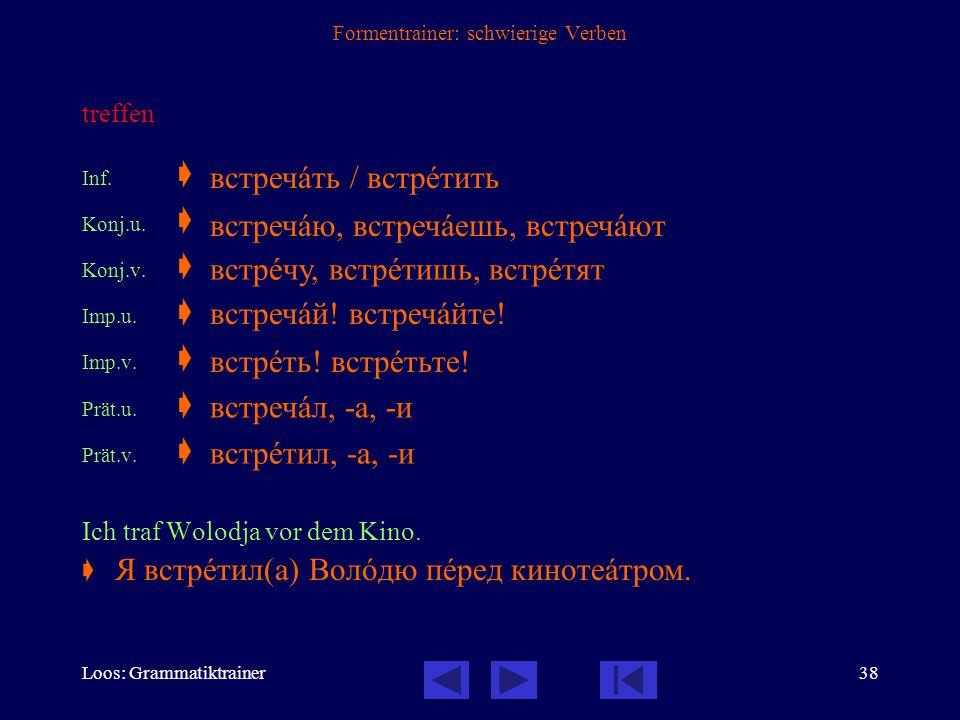 Loos: Grammatiktrainer37 Formentrainer: schwierige Verben aufstehen Inf.  Konj.u.  Konj.v.  Imp.u.  Imp.v.  Prät.u.  Prät.v.  Wann stehst du mo