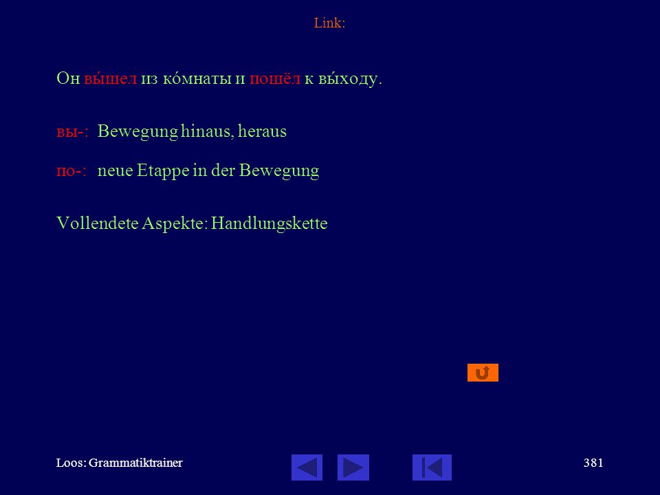 Loos: Grammatiktrainer380 Link: поезд отходит Скажèте, пожàлуйста, когдà отхîдит пîезд в Минск? Fahrplanmäßige Abfahrt