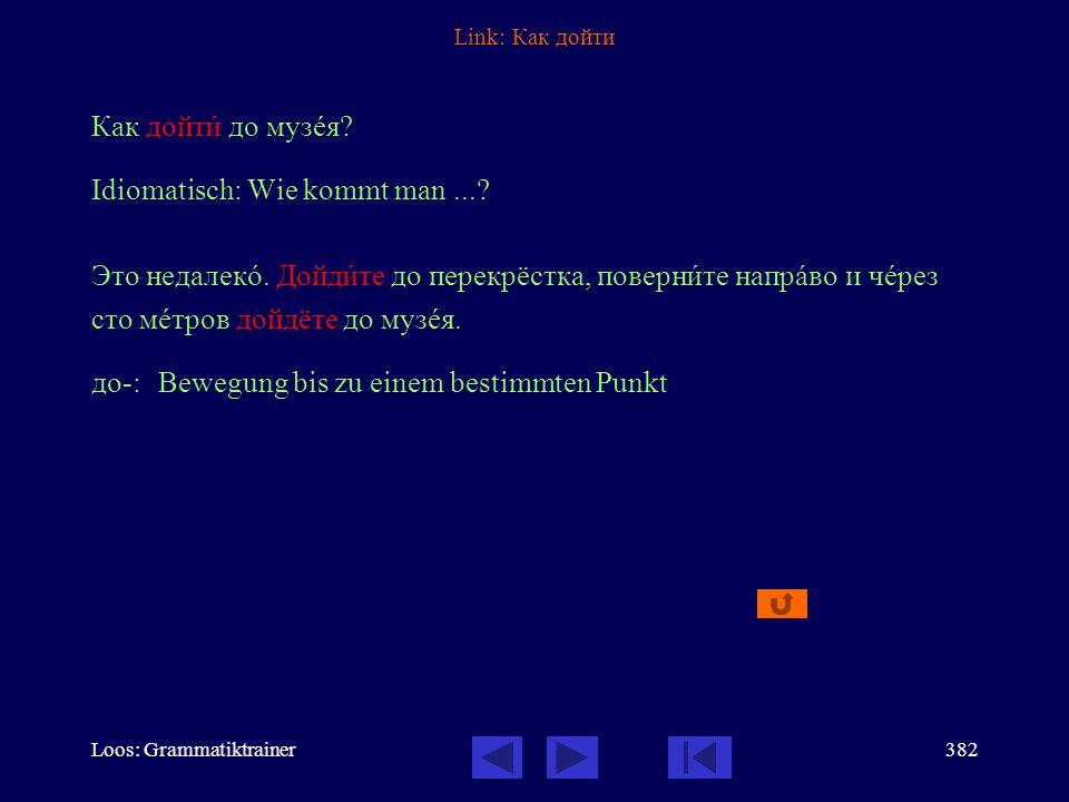 Loos: Grammatiktrainer381 Link: Он вûшел из кîмнаты и пошёл к вûходу. вы-: Bewegung hinaus, heraus по-:neue Etappe in der Bewegung Vollendete Aspekte: