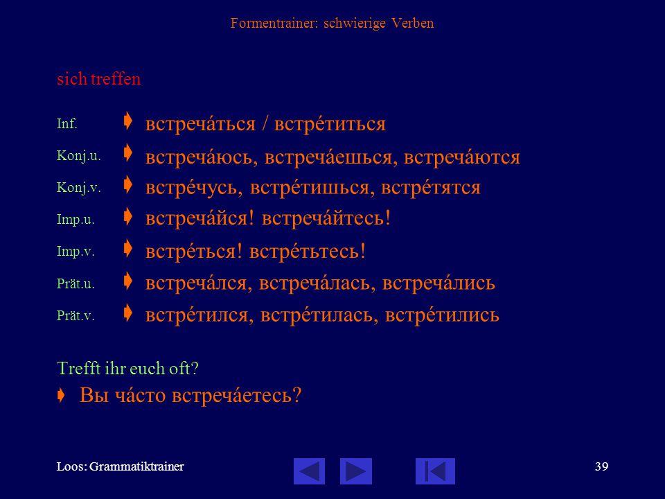 Loos: Grammatiktrainer38 Formentrainer: schwierige Verben treffen Inf.  Konj.u.  Konj.v.  Imp.u.  Imp.v.  Prät.u.  Prät.v.  Ich traf Wolodja vo