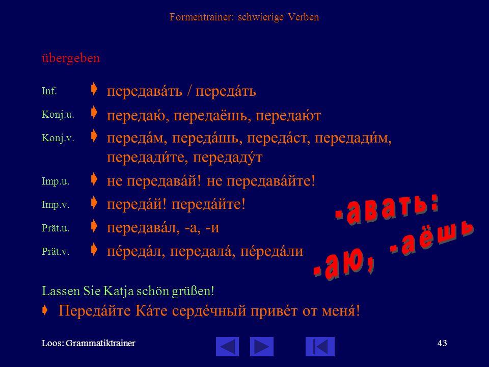 Loos: Grammatiktrainer42 Formentrainer: schwierige Verben дать дам, дашь, даст дадèм, дадèте, дадóт
