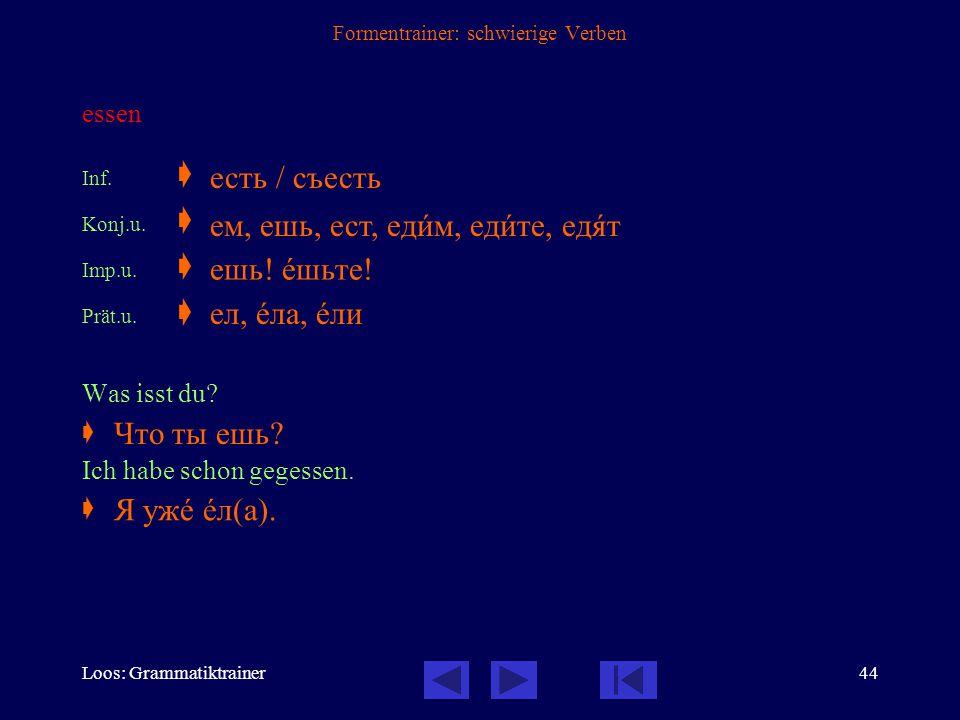 Loos: Grammatiktrainer43 Formentrainer: schwierige Verben übergeben Inf.  Konj.u.  Konj.v.  Imp.u.  Imp.v.  Prät.u.  Prät.v.  Lassen Sie Katja