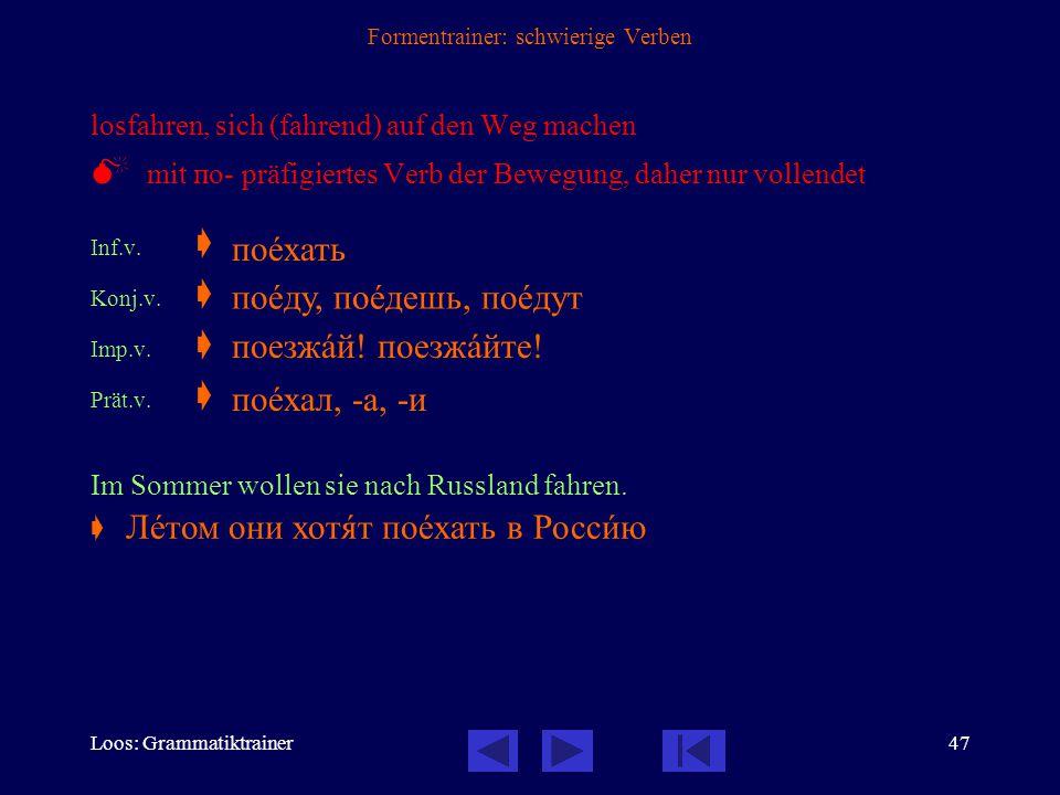 Loos: Grammatiktrainer46 Formentrainer: schwierige Verben fahren  nichtpräfigiertes Verb der Fortbewegung, beide Formen unvollendet Inf.  Konj.1. 