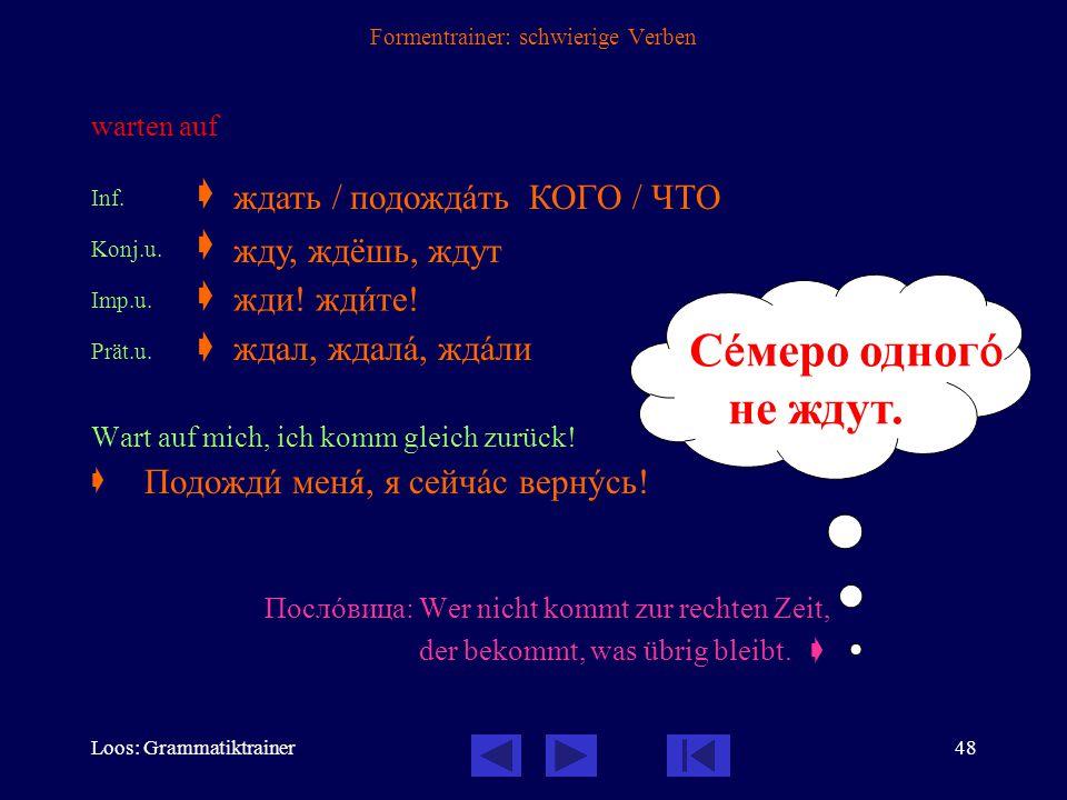 Loos: Grammatiktrainer47 Formentrainer: schwierige Verben losfahren, sich (fahrend) auf den Weg machen  mit по- präfigiertes Verb der Bewegung, daher nur vollendet Inf.v.