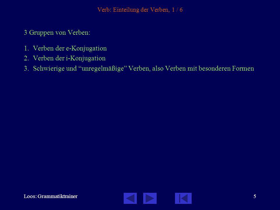 Loos: Grammatiktrainer5 Verb: Einteilung der Verben, 1 / 6 3 Gruppen von Verben: 1.