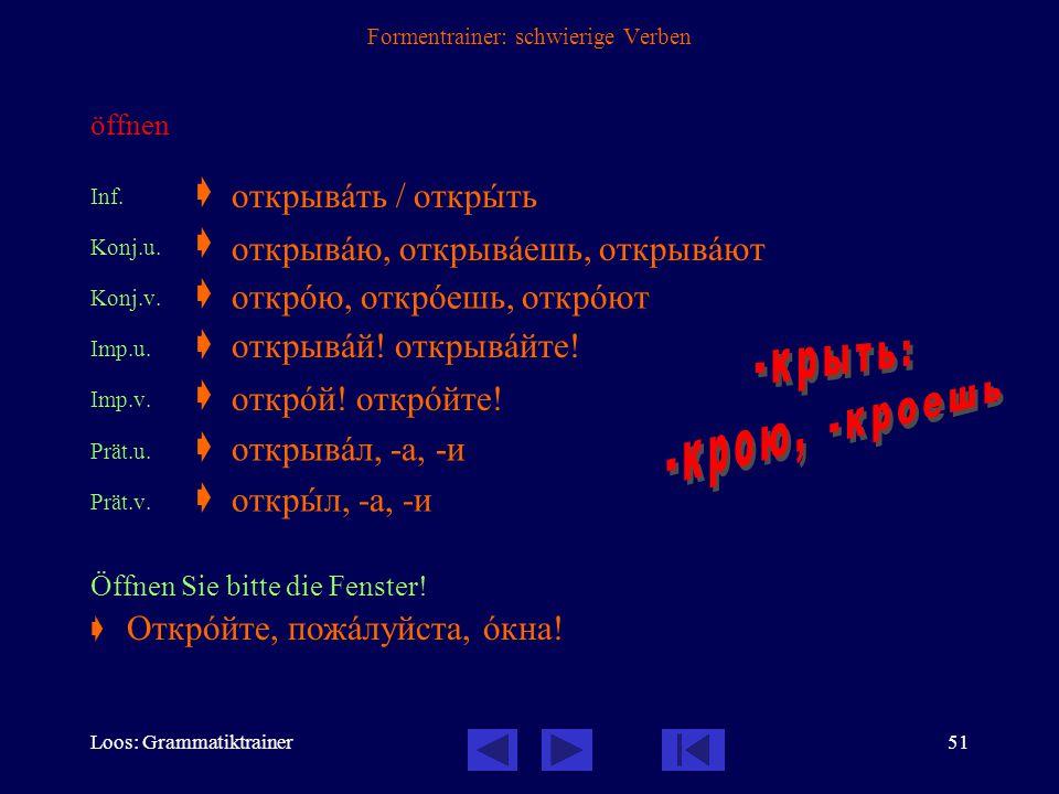 Loos: Grammatiktrainer50 Formentrainer: schwierige Verben schließen Inf.  Konj.u.  Konj.v.  Imp.u.  Imp.v.  Prät.u.  Prät.v.  Schließen Sie bit