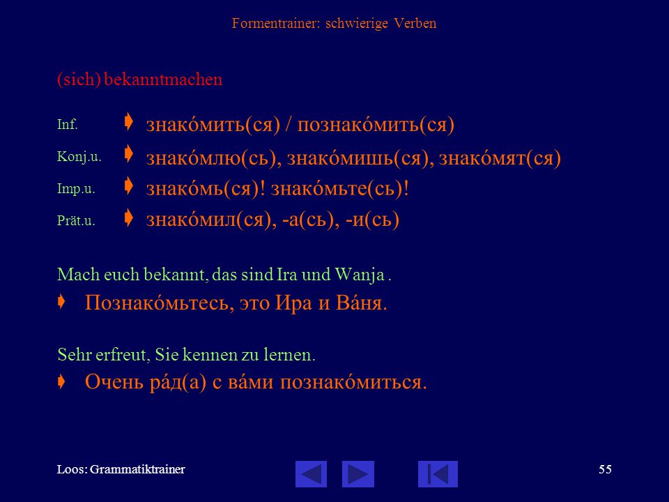 Loos: Grammatiktrainer54 Formentrainer: schwierige Verben genannt werden Inf.
