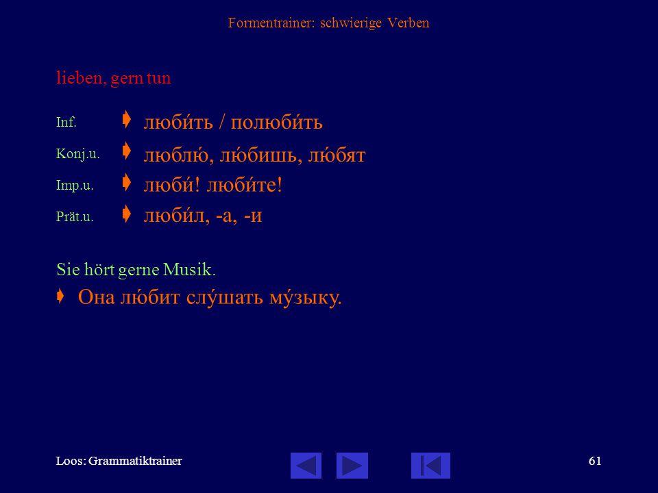 Loos: Grammatiktrainer60 Formentrainer: schwierige Verben sich (hin-, nieder-) legen Inf.  Konj.u.  Konj.v.  Imp.u.  Imp.v.  Prät.u.  Prät.v. 