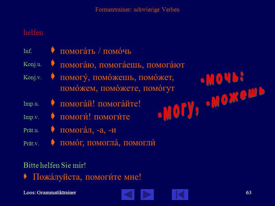 Loos: Grammatiktrainer62 Formentrainer: schwierige Verben können Inf.