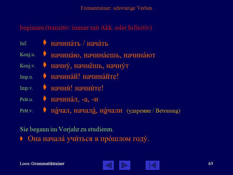 Loos: Grammatiktrainer64 Formentrainer: schwierige Verben hoffen Inf.  Konj.  Imp  Prät  Ich hoffe, dass er bald kommt.  надåяться надåюсь, надåе