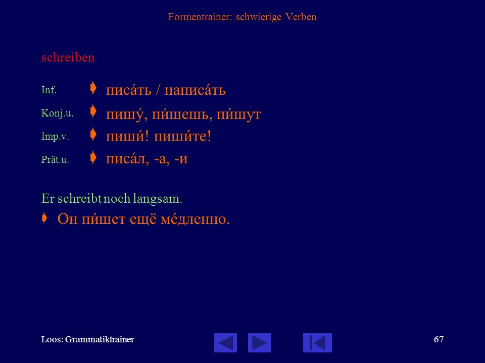 Loos: Grammatiktrainer66 Formentrainer: schwierige Verben beginnen (intransitiv: nie mit Akkusativ oder Infinitiv) Inf.