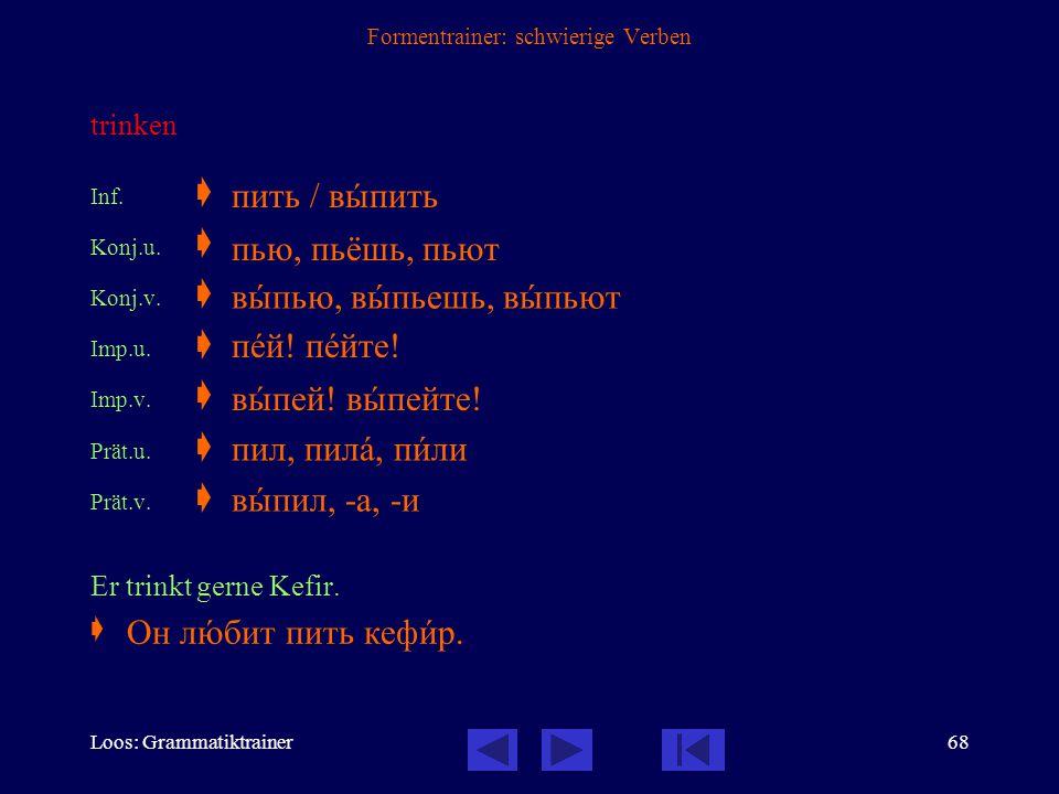 Loos: Grammatiktrainer67 Formentrainer: schwierige Verben schreiben Inf.  Konj.u.  Imp.v.  Prät.u.  Er schreibt noch langsam.  писàть / написàть