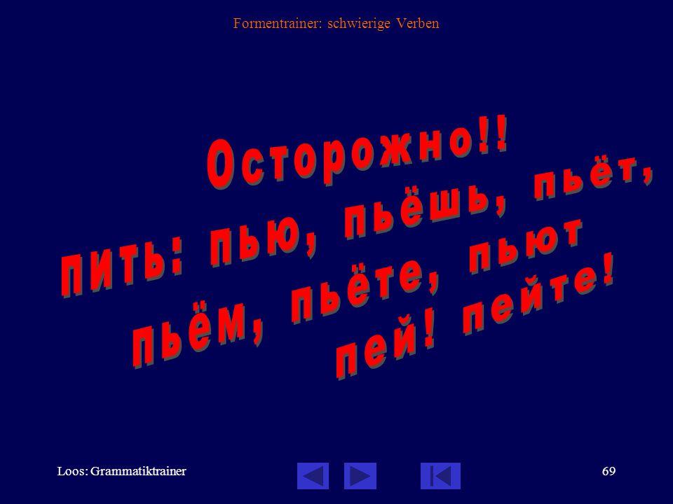 Loos: Grammatiktrainer68 Formentrainer: schwierige Verben trinken Inf.