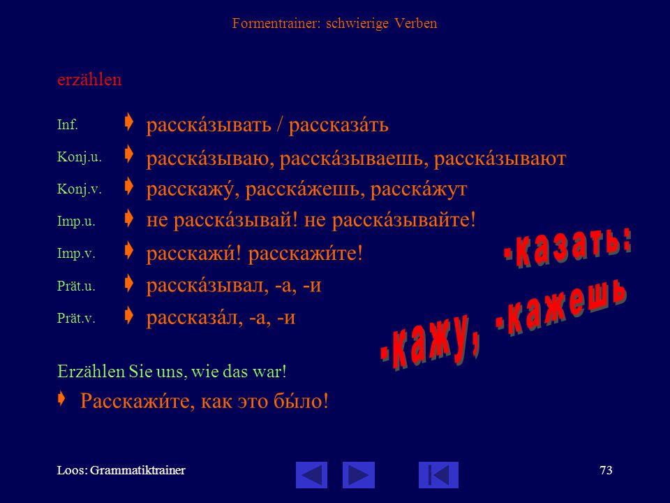 Loos: Grammatiktrainer72 Formentrainer: schwierige Verben zeigen Inf.  Konj.u.  Konj.v.  Imp.u.  Imp.v.  Prät.u.  Prät.v.  Zeigen Sie uns, bitt