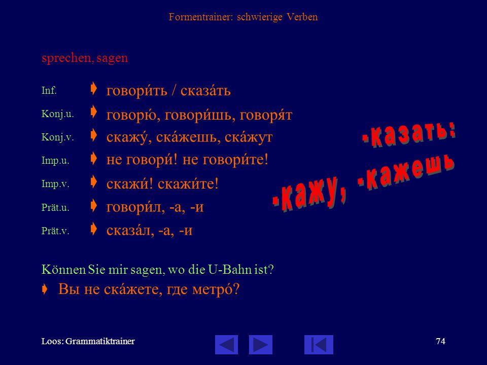 Loos: Grammatiktrainer73 Formentrainer: schwierige Verben erzählen Inf.  Konj.u.  Konj.v.  Imp.u.  Imp.v.  Prät.u.  Prät.v.  Erzählen Sie uns,