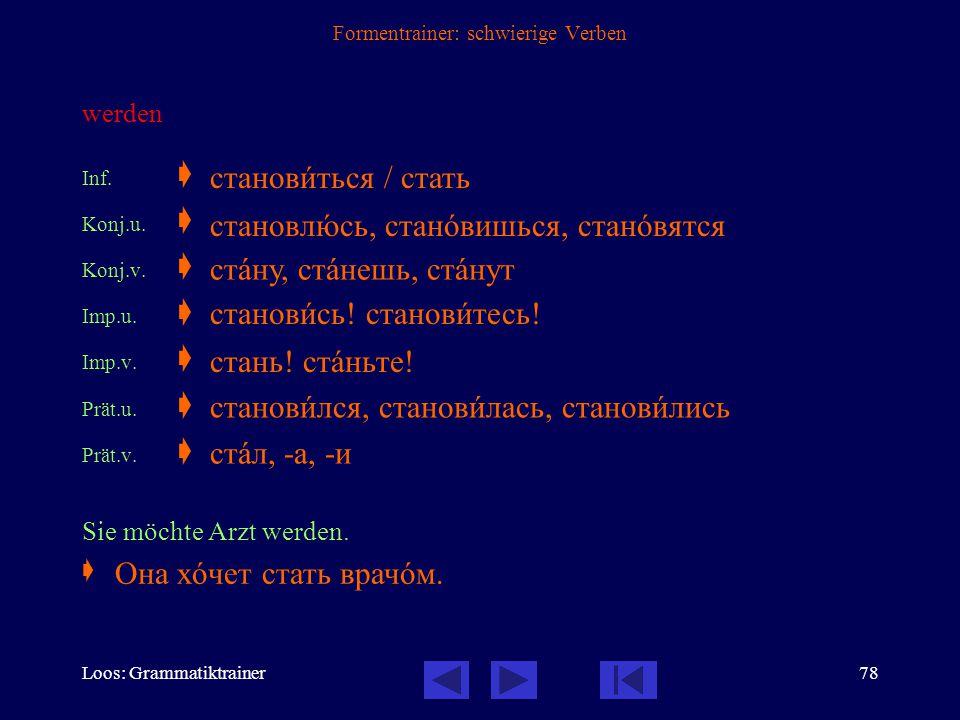 Loos: Grammatiktrainer77 Formentrainer: schwierige Verben schlafen Inf.  Konj.u.  Imp.u.  Prät.u.  Katja schläft schon.  /по-/ спать сплю, спишь,