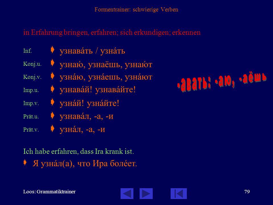 Loos: Grammatiktrainer78 Formentrainer: schwierige Verben werden Inf.  Konj.u.  Konj.v.  Imp.u.  Imp.v.  Prät.u.  Prät.v.  Sie möchte Arzt werd