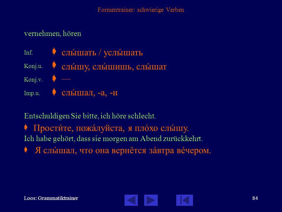 Loos: Grammatiktrainer83 Formentrainer: schwierige Verben kaufen Inf.  Konj.u.  Konj.v.  Imp.u.  Imp.v.  Prät.u.  Prät.v.  Entschuldigen Sie bi