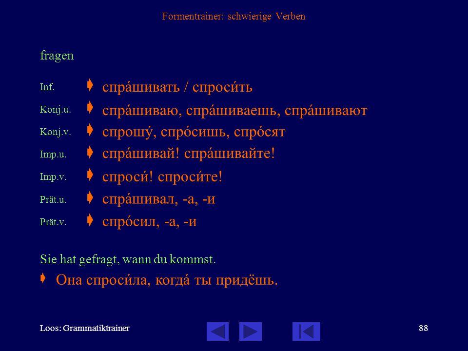 Loos: Grammatiktrainer87 Formentrainer: schwierige Verben einladen Inf.  Konj.u.  Konj.v.  Imp.u.  Imp.v.  Prät.u.  Prät.v.  Ich lade dich ins