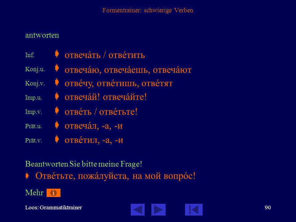 Loos: Grammatiktrainer89 Formentrainer: schwierige Verben bitten Inf.  Konj.u.  Konj.v.  Imp.u.  Imp.v.  Prät.u.  Prät.v.  Sie bat mich zu komm