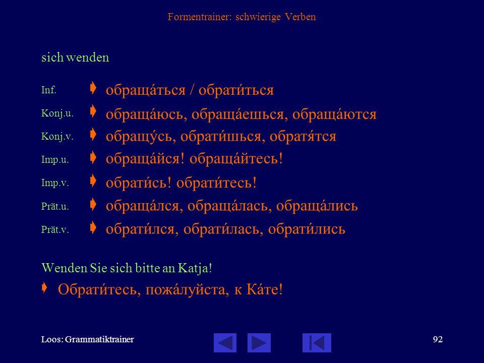Loos: Grammatiktrainer91 Formentrainer: schwierige Verben fliegen  nichtpräfigiertes Verb der Fortbewegung, beide Formen unvollendet Inf.  Konj.1. 