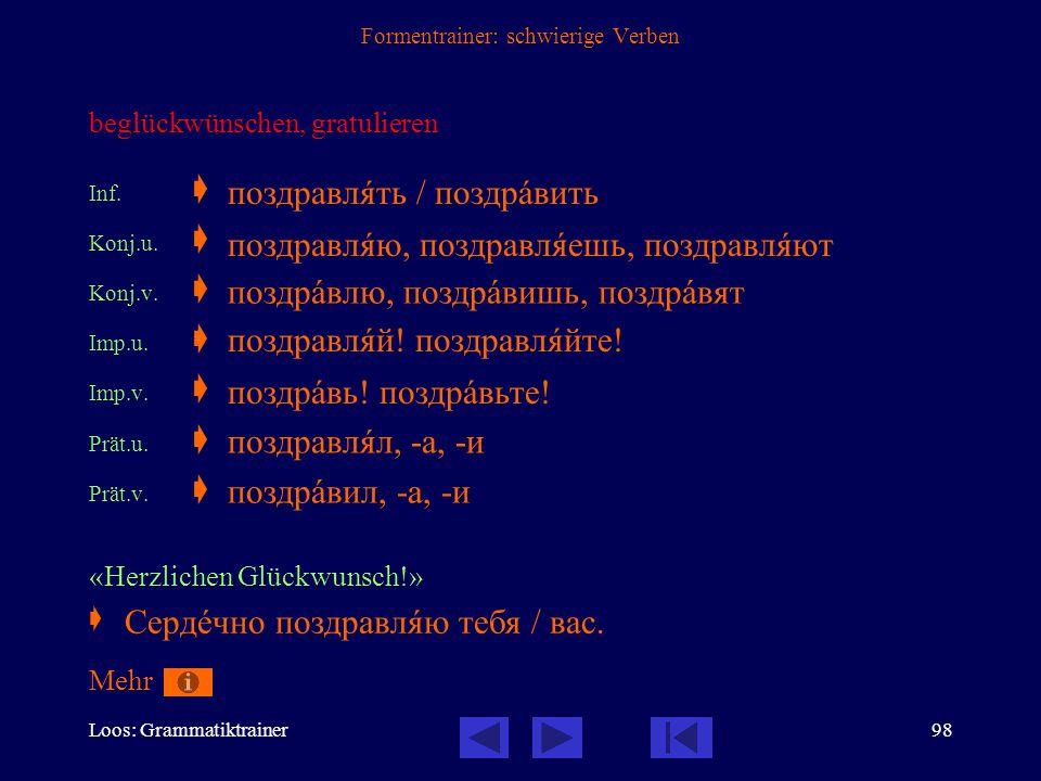 Loos: Grammatiktrainer97 Formentrainer: schwierige Verben schwimmen  nichtpräfigiertes Verb der Fortbewegung, beide Formen unvollendet Inf.  Konj.1.